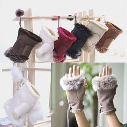 Wholesale Hand Warmer Wholesale - Fashion winter warm girl leather rabbit hand warm winter winter fingerless gloves fingerless gloves 50 pcs YYA560