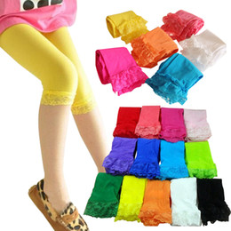 Wholesale Cotton Candy Free Shipping - kids baby girls velvet candy color leggings summer girls lace leggings children Cropped Pants free shipping in stock