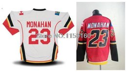 Wholesale Best Sewing - Wholesale Authentic 23 Sean Monahan Jersey Red White Best Quality 100% Sewn On Sean Monahan Hockey Jersey Free Shipping