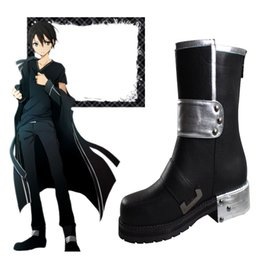 Wholesale Kirito Boots - Chrismas Popular Anime Exclusive High Quality Sword Art Online Kirito Cosplay Boots Daily Life HOT Halloween Shoes