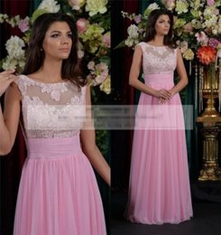 Wholesale Russia Dress - Russia Pink Plus Size Prom Dresses 2015 Cheap A Line Scoop Vintage Lace Arabic Dresses Party Evening Long Chiffon Sequin Indian African Gown