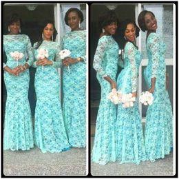 Wholesale Aqua Gown Dress Mermaid - Elegant Aqua African Bridesmaid Dresses Long Sleeves Dubai Dresses Plus Size Lace Bateau Neckline Nigerian Bridesmaid Gowns Cheap