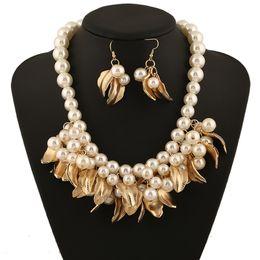 Wholesale Girls Plastic Earrings - 2pcs set Fashion Jewelry Sets Multi-Layered White Imitation Pearl Necklace Long Earrings Women Collar free shipping brand