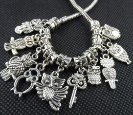 2019 pedra de pérolas de pandora 100 PCS misturado liga de prata tibetana coruja encantos pingente Dangle Beads Fit europeu fazendo jóias pulseira
