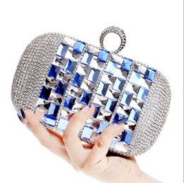 Wholesale Champagne Finger Clutch - Womens Blue Crystal Clutch Bags Finger Evening Handbags Wallet For Wedding Cocktail Night Party Dating Designer Purse White Glamour