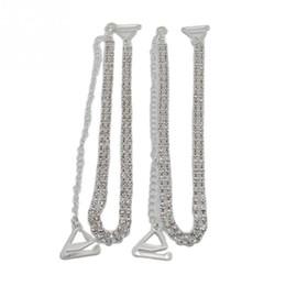 Wholesale Double Shoulder Belt Strap - Wholesale-Adjustable 1Pair Double Rows Crystal Diamante Rhinestone Bra Shoulder Straps Belt accessories