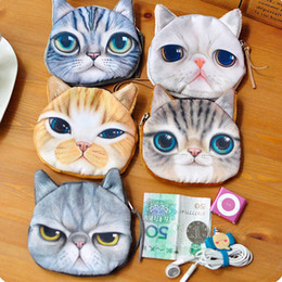 Wholesale Round Zipper Pouch - 3D Print Cat face Coin Pouch Animal Small Purse Women Hand bag Zipper Earphone Holder Cosmetic Makeup Bag Zero Wallets IC713