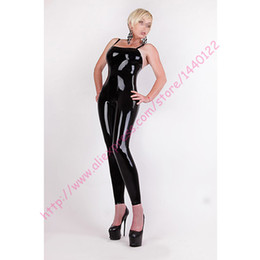 Wholesale Tight Sexy Latex - Wholesale-Fashion women 2016 new arrival latex sling tights sexy fetish rubber catsuit without zipper for female plus size Hot sale