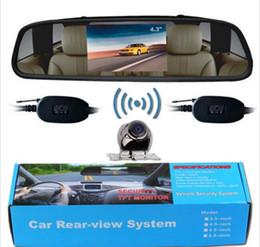 "Wholesale Rear Backup Camera Kit - Car Rear View Kit 4.3"" TFT LCD Mirror Monitor Wireless Backup Camera Alloy Metal"