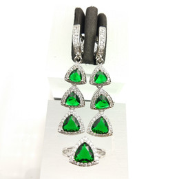 Wholesale B 925 China - Emerald Amethyst White Topaz 925 Silver Wedding Jewelry Sets For Women Earrings Rings Size 7 8 9 Free Gift Box B