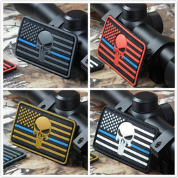 Wholesale Wholesale Team Flags - 3.15 inch 3D PVC Patch Punisher with magic tape Thin Blue Line DEVGRU Seal Team American flag Skull sew on patch GPS-021