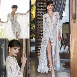 Wholesale Vintage French Lace Wedding Dress - Sexy Nurit Hen 2017 Wedding Dresses French Lace Front Split Deep V Neck Bridal Gowns Long Sleeve Vintage Illusion Wedding Dress