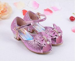 Wholesale White Princess Wedding High Heels - Fashion Girl Shoes Children Princess Sandals Kids Girls Wedding Shoes High Heels Dress Shoes Party Shoes For Girls 4 Colors