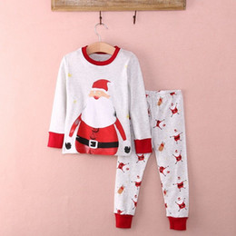 Wholesale Kids Santa Claus Pajamas - 2016 newly Christmas Baby Kid Boys girls suits Santa Claus Nightwear Pajamas logo printed Set Sleepwear warm long sleeve tshirt+pabts sets