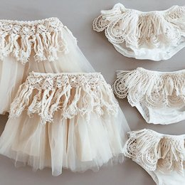 Wholesale Beige Lace Skirt - 2017 INS Baby Girl Infant Toddler Summer Lace Tutu Skirt pettiskirt Beige tulle Costumes Tassels Skirt Cute Tutu Skirt Cotton Hollow Ruffle