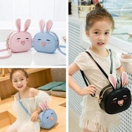 Wholesale Wholesale Leather Bag Straps - Children handbags girls Bunny ear messenger Handbag Kids PU leather strap shoulder Bags Mini Coin purse Wallets zipper Holder Bags G1342