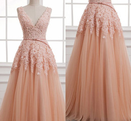 Wholesale Dress Young Fashion - Sweet Fluffy Tulle A Line Evening Dresses with Appliques Beaded V Neck Prom Dresses For Young Girls Custom Made Prom Dresses