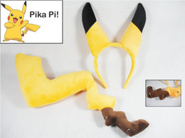 Wholesale Brown Ears Tail - Pocket Monster Animal headband tail anime Pikachu hair sticks ear tail set costume party sets cartoon cosplay dress kids hair access