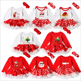 Wholesale Santa Baby Romper - Christmas Clothes Baby Ins Xmas Dresses Hairband Ruffle Romper Dress Hairband Outfit Girls Tutu Cake Dress Newborn Santa Claus Dresses B2854