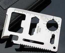 Wholesale Pocket Card Survival Tool - Hunting Camping Survival Pocket Knife 11 In 1 Multi Tools Credit Card Knife Stainless Steel Outdoors Gear Survival Tools