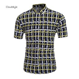 Wholesale New China Style Shirt - Wholesale-New Arrival Striped Printing Mens Shirt Brand Clothing Single Breasted Lapel China Style Shirt Fitness Cotton Camisa Masculina