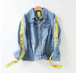 Wholesale Girl S Winter Jackets - 2017 new Basic Coats Autumn Winter Men Women Denim Jacket Off White Vintage Loose Brand Jeans Coat Casual Girls Outwear
