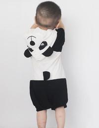 Wholesale Panda Costumes For Girls - Baby Panda Costume Halloween Costume For Infant Baby Romper Jumpsuit Boys Girls One Piece Short Sleeve Hooded Pajamas Sleepwear