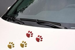 Wholesale Cheap Car Styling Accessories - sticker cheap (120 pairs lot ) Wholesale 3d dog paw auto sticker decals badge black styling car accessories