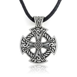 Wholesale Irish Crosses - Tibetan Silver Solar Cross Knot Religious Christian Irish Druid Pendant on Leather Necklace