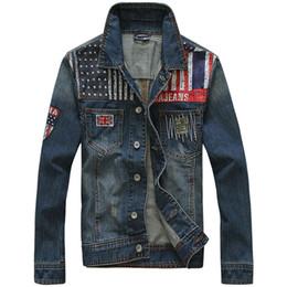 Wholesale Cowboy Clothes For Men - Fall-2015 Men's clothing British flag patches men's fashion denim jacket cowboy Cotton Jackets Casual Jeans Coat for Male S - XXL