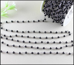 cadena cerrada de strass Rebajas 5 metros / lote chapado en rodio negro rosario estilo cadena con cuentas, alambre envuelto cadena de cuentas cadena de rosario bolas facetadas Jewelr