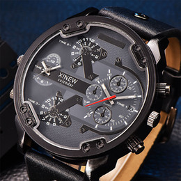 Wholesale Watch Faces Leather Band - Mens Luxury Sport Watches Leather G Band Big Face Date Quartz Wrist Aaa Shock Watch