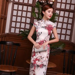 Wholesale Prom Trends - JY28 Short Sleeve national trend Dress Floral cheongsam Long Qipao chinese traditional dress For Women