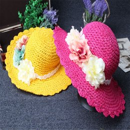 Wholesale Hat Made China - Summer sun hat of the girls the flower peony paper straw hat sun hat new children's hat make in china A2016051815