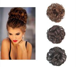 Wholesale European Clip Curly Hair - Sara Woman Chignon Buns Kinky Curly Synthetic Hair Bun Extension 13CM*13CM Black & Brown Chignon Clip in Buns Hairpiece Toupee Updo Hair