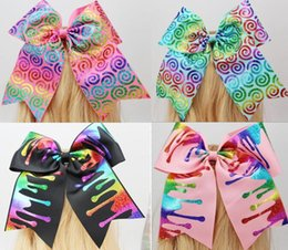 Wholesale Glitter Large - HOT SALE !7inch jojo Large Glitter Rainbow Cheer Bow Cheerleading Dance Hair Bow for teens girls Hair accessories drop shipping 20PCS