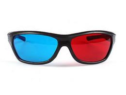 Wholesale Lens 3d Blue - ot selling new arrive Re-useable Plastic Frame Lens Anaglyphic Blue + Red DVD 3D Glasses