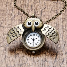 Wholesale Cute Owl Pendant Watch - Wholesale- Retro Antique Bronze Alloy Pendant Pocket Watch Cute Owl Animal Children's Gift Necklace Chain