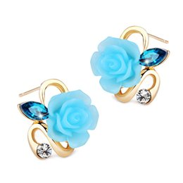 Wholesale Resin Stud Earrings - 5 Colors 18K Yellow Gold Plated Resin Rose Flowers Austrian Crystal Paved Stud Earrings Fashion Womens Jewelry for Party Wedding