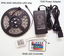 Wholesale Led Rope Lighting Outdoor 12v - 5m RGB 5050SMD Outdoor LED Christmas Lights Waterproof LED Strip Rope String Tape Lights +24key RGB LED Controller +12V 6A 72W Power Adapter