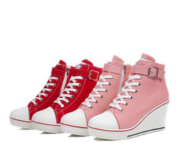 Wholesale Hid 35 - Black White Women Shoes Platform 2016 Hidden Wedge Boots Shoes For Women High Heel Top Canvas Shoes Casual Shoes Ladies 35-43