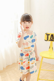 Wholesale Old Fashioned Baby Girl Dresses - 3-10 Years Old Baby Girl Dress 100% Cotton Floral Printed Clothes Summer 2016 Short Sleeve Causal Skirt Fashion For Baby Big Girl DRG31