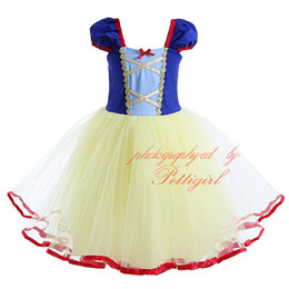 Wholesale Snow White Clothing Girls - 2016 New Fashion Girl Tutu Dress Lolita Style Tulle Snow White Dress Ball Gown And Patchwor Clothing With Lantern Sleeves CMGD90419-338