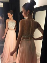 Wholesale Spark Light - Sparking 2016 Crystal Beaded Prom Dresses Two Pieces Crew Neck Sleeveless Sheer Zipper Back Floor Length Chiffon 2017 A Line Evening Gowns