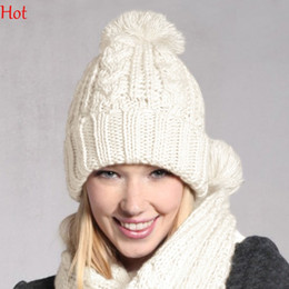 Wholesale Acrylic Circle Scarves - Hot Top Qualiy Womens Beanie Knitted Caps Crochet Hats Pompons Curling Winter Neckwarmer Casual Cap Woman Hat Circle Ring Scarf Set SV012421