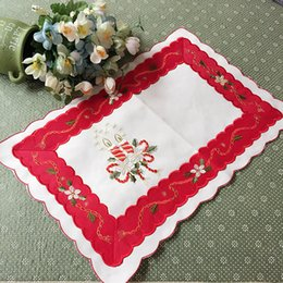 Wholesale Lace Cup Holders - Wholesale- 30*45CM HOT Red table place mat lace satin cotton pad embroidery placemat cup mug holder coaster doily trivet kitchen tableware