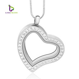 Wholesale Chain Memories - 30mm Silver Heart magnetic glass floating charm locket Living memory locket (chains included for free) LSFL03-1
