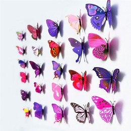 2019 ragazzo amante del fumetto Le vendite calde di nuovo arrivo della decorazione della casa dell'autoadesivo della parete di DIY delle farfalle del PVC 3D di 12PCS 3D liberano il trasporto