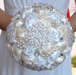 Wholesale Silk Brooch Flowers - Handmade Bridal Bulk Flowers Silk Satin Flowers Peals Crystal Rhinestone Rose Wedding Supplies Bride Holding Brooch Bouquet 2016