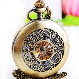 Wholesale Vintage Friends Watch - Luxury Hollow Skeleton Mechanical Pocket Watch Steampunk Vintage Chain Pendant Clock friend Gifts